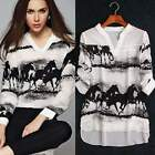 Women's Retro Long Sleeve V-Neck Ink Sheer Casual Tops Shirt Blouse Fashion
