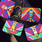 High Quality Rainbow Color Bag Rivet PU Leather Crossbody Shoulder Bag Messenger