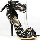 Black Gold Satin Open Toe High Stiletto Dress Heel Sandals Wild Diva Rena-02