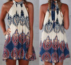 Sexy Lady Summer Holiday Boho Halterneck Chiffon Evening Party Short Beach Dress
