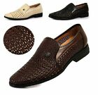Elegant Mens Casual Hollow Breathable Loafers Slip On Woven Sandals Dress Shoes