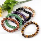 Natural Gemstone 10mm Round Ball Bead Healing Stretchy Bracelet Bangle Jewelry