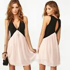 New Sexy Womens Deep V-neck Backless Chiffon Sleeveless Vest Party Mini Dress