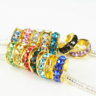 New Crystal Golden Plated Spacer Charms Beads Fit European Bracelet & Necklace