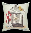 Nj104a High Quality Embroidered Jacquard Bird Flower Linen Cotton Cushion Cover