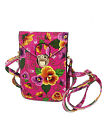 Lady Faux Leather 2 Compartments Flower Printed Push Lock Closure Cross-Body Bag