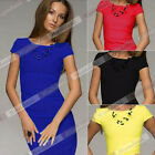 New Hot Ladies Short Sleeve Evening Party Bodycon Evening Cocktail Dress W2