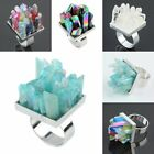 Rainbow Flame Aura/Rock Quartz Gemstone Crystal Celestial Cluster Ring Jewelry
