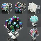 Rainbow Flame Aura/Rock Quartz Gem Crystal Drusy Adjust Adjustable Cluster Ring