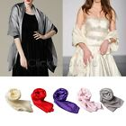 MON - Large Satin Bridal Bridesmaid Wedding Prom Shawl Stole Scarf Cover Up