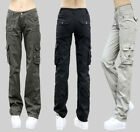 Womens Fashion Girls Military Army Cargo Pocket Pants Leisure Trousers Outdoor