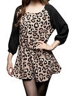 Lady Stylish Leopard Prints Self Tie String Loose Tunic Top