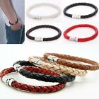 Fashion 1Pcs Unisex Men's Braided Leather Steel Magnetic Clasp Bracelet Jewelry