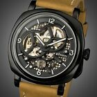INFANTRY Mens Wrist Watch Sport Leather Classic Automatic Mechanical Steampunk