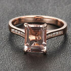 CLAW PRONGS Solid 14K Rose Gold 1.8ctw Morganite .15ct Diamond Engagement Ring