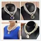 1Strand Occident Bib Crystal Drop Bead 6-Layer Faux Pearl Necklace Women Jewelry