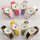 Fashion Women Girl Ladies Smile Cat Gold Kitty Ears Quartz Casual Wrist Watch  image