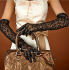 Elbow length genuine goat goat leather lamb leather with black lace gloves black