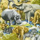 Fat Quarter Jungle Party Animals African Wildlife 100% Cotton Quilting Fabric