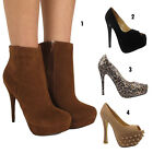 Womens Ladies Brown Faux Suede High Heels Stilettos Ankle Boots Shoes Size 3-8