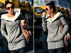 Lady Long Sleeve Zipper Hoodie Jacket Coat Sweat Light Grey F1031 WFR