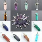 Facet-6 Gemstone Pendant Fit Necklace Opal/Amethyst/Unakite/Agate/Crystal Quartz