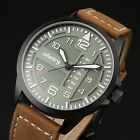 INFANTRY Pilot Mens Quartz Wrist Watch Military Sport Leather Fashion Waterproof