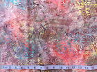 BALI BATIKS - LEAVES WITH PINK TONES 100% cotton patchwork fabric