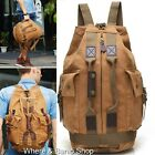 Men Canvas Leather Backpack Laptop School Bucket Bag Tote Travel camping Gym 262