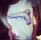Elegant lady Women Gun Printed Tee T-Shirts White Cotton Size S/M/L