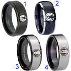 Tungsten Jedi 8MM Black Step Dome Beveled Edges Pip Cut Men's Ring