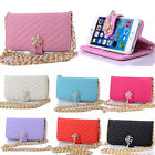 1M Chain Wristlet Leather Flip Wallet Case Skin For Apple iPhone 6 Plus 5.5 Inch