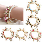 Starfish Shell Leather Pearl Gold Charm Wristband Bracelet Bangle Chain Cuff