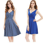 Women's V-neck Royal Blue Sleeveless Short Summer Cocktail Party Dress 05294