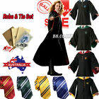 Harry Potter Gryffindor/Hufflepuff/Ravenclaw Cloak Robe/Tie/Magic wand/Badge NEW
