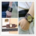 New Style Retro Punk Rock Brown Big Wide Leather Bracelet Cuff Men Watch J