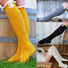 Women Trendy Lace Trim Buttons Thigh Stockings Over Knee High Long Boot Socks