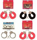 Red Black Pink Furry Fluffy Metal Handcuffs Novelty Gift Adult Fun Kinky Cuffs