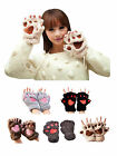 Cute Cat Claw Paw Mitten Women Lady Plush Gloves Soft Costume Winter Half Finger