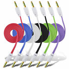 Flat Noodle Slim 3.5mm Stereo Audio Male to Male Car Aux Cable Multi-Colors