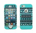 For iPhone SE, 5s, 5 Teal Tribal Hybrid Hard&Rubber Rugged Armor Case Cover
