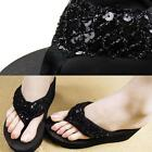 Women Shiny Sequain Flatform Wedge Flip Flops Shoes Summer Beach Chic Sandals Z