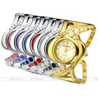 Women's Silvery Surface Crystal Quartz Analog Wrist Watch Band Cuff Bracelet