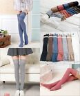 Women Knitting Lace Cotton Over Knee Thigh Stockings Pantyhose Tights High Socks