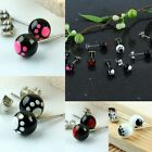 Lot Stainless Steel Round Ball Ear Stud Earrings Cute Puppy Animal Paw Footprint