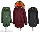 Girls Kids Military Style Parka Fur Hooded Jacket Coat