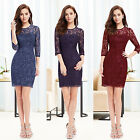 Women 3/4 Sleeve Elegant Lace Short Cocktail Party Casual Dress 03792