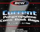 100 BCW Current Modern Comic Book Bags and Boards Sleeves- NEW - Archival