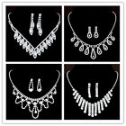 New Rhinestone Crystal Necklace Trendy Wedding Bridal Prom Earrings Jewelry Set