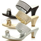 WOMENS LADIES PLATFORM LOW MID HEEL PEEPTOE STRAPPY TOE STRAP SANDALS SHOES SIZE